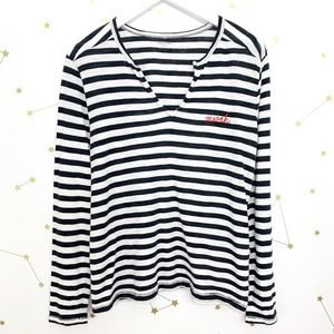 Madewell • Black Striped Embroidered Muah Tee S
